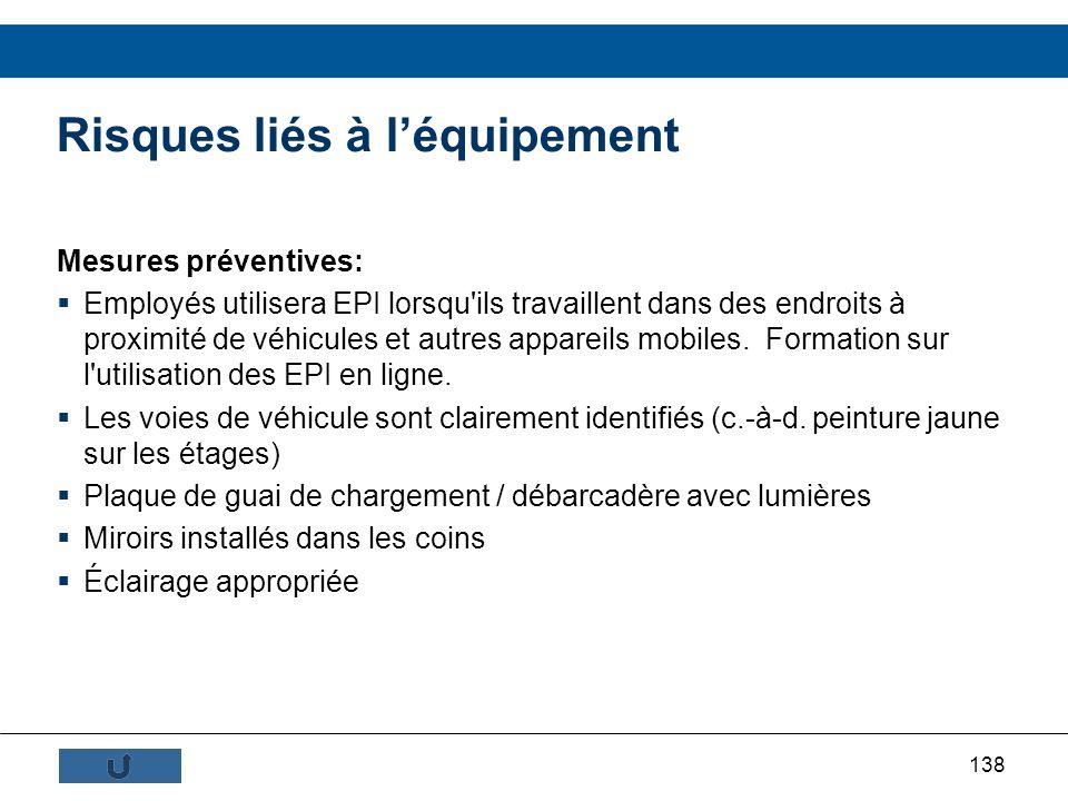 138 Risques liés à léquipement Mesures préventives: Employés utilisera EPI lorsqu'ils travaillent dans des endroits à proximité de véhicules et autres