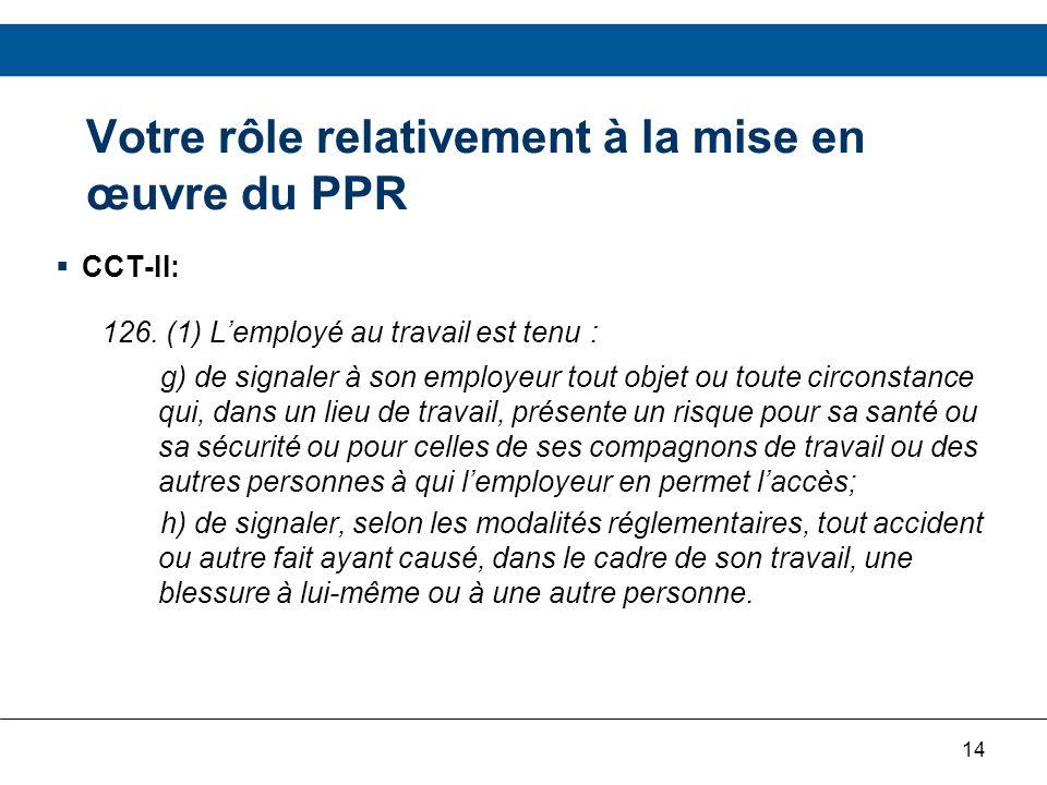14 CCT-II: 126. (1) Lemployé au travail est tenu : g) de signaler à son employeur tout objet ou toute circonstance qui, dans un lieu de travail, prése