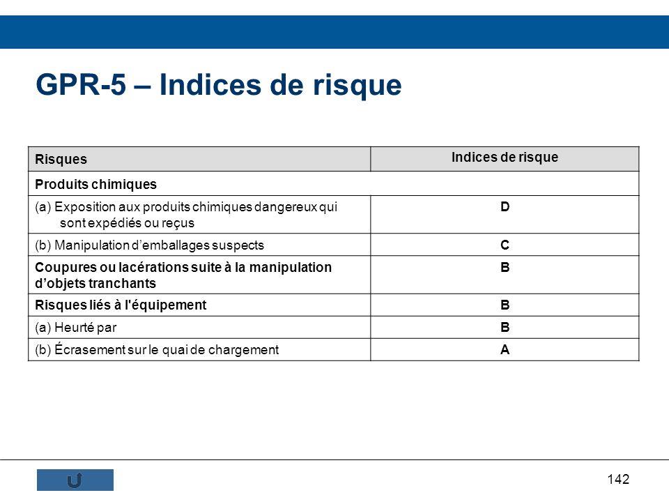 142 GPR-5 – Indices de risque Risques Indices de risque Produits chimiques (a) Exposition aux produits chimiques dangereux qui sont expédiés ou reçus