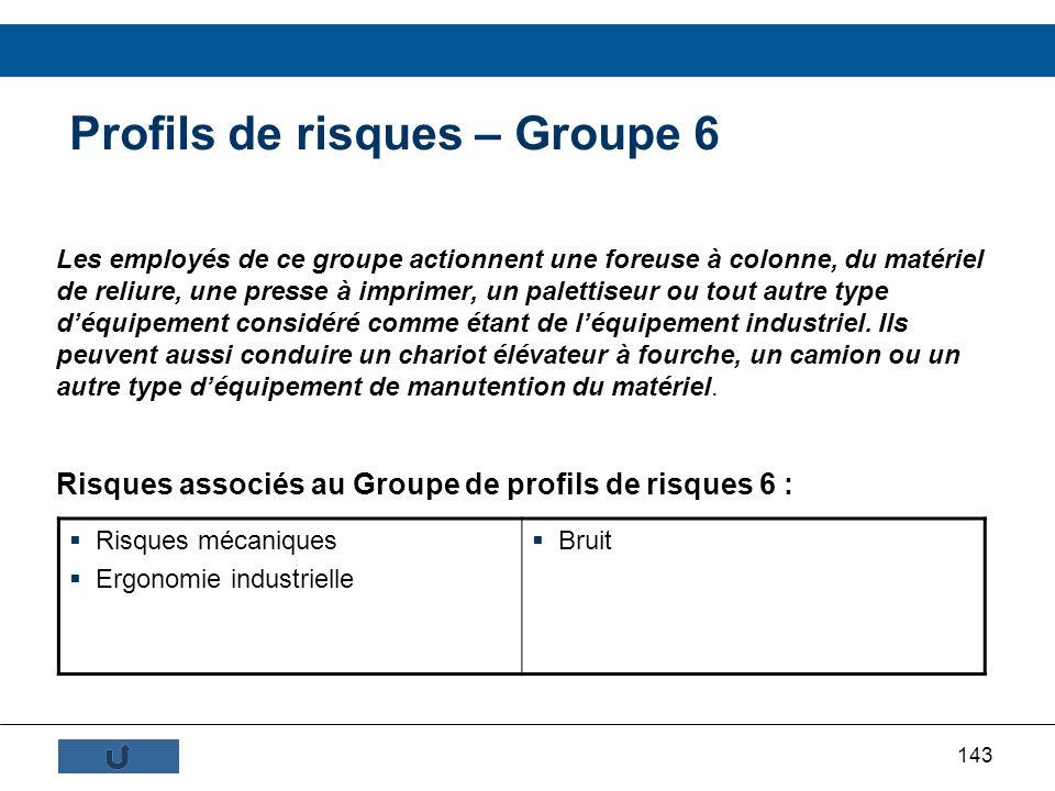 143 Profils de risques – Groupe 6 Les employés de ce groupe actionnent une foreuse à colonne, du matériel de reliure, une presse à imprimer, un palett