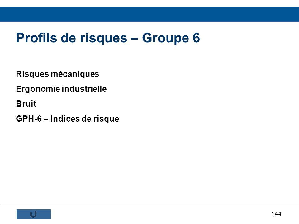 144 Profils de risques – Groupe 6 Risques mécaniques Ergonomie industrielle Bruit GPH-6 – Indices de risque