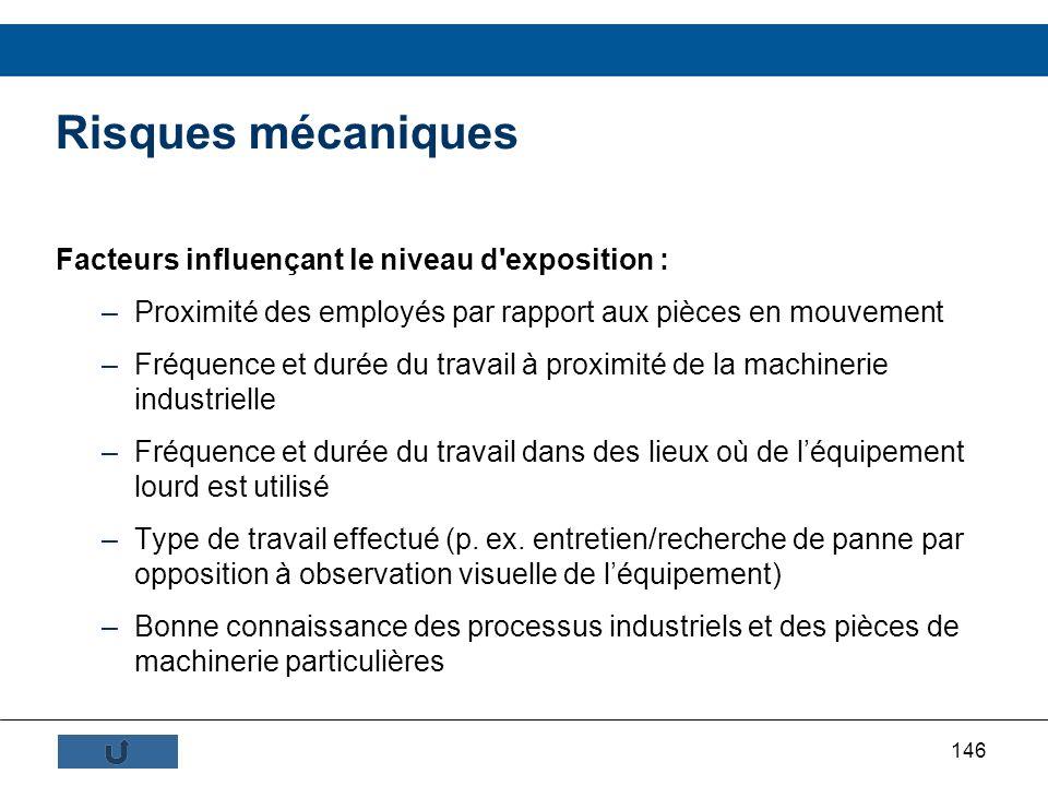 146 Risques mécaniques Facteurs influençant le niveau d'exposition : –Proximité des employés par rapport aux pièces en mouvement –Fréquence et durée d