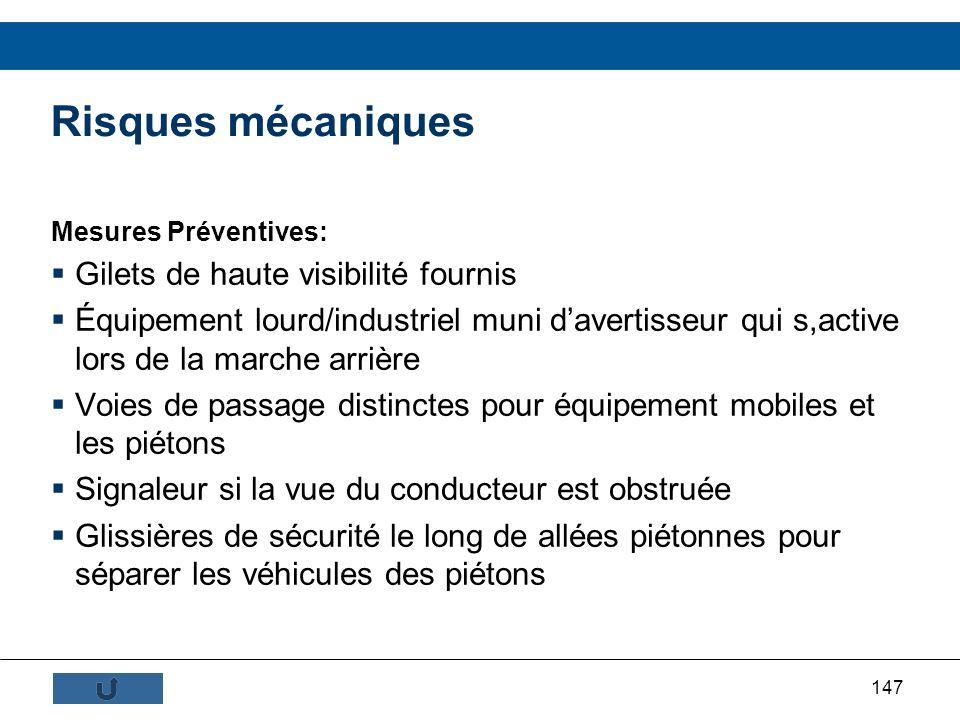 147 Mesures Préventives: Gilets de haute visibilité fournis Équipement lourd/industriel muni davertisseur qui s,active lors de la marche arrière Voies