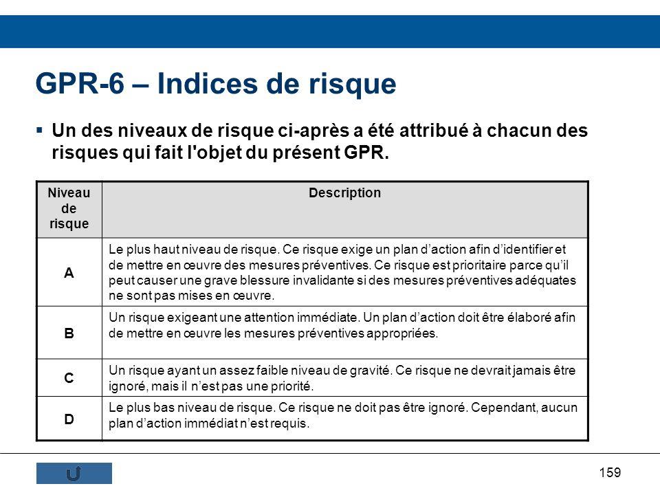 159 GPR-6 – Indices de risque Un des niveaux de risque ci-après a été attribué à chacun des risques qui fait l'objet du présent GPR. Niveau de risque