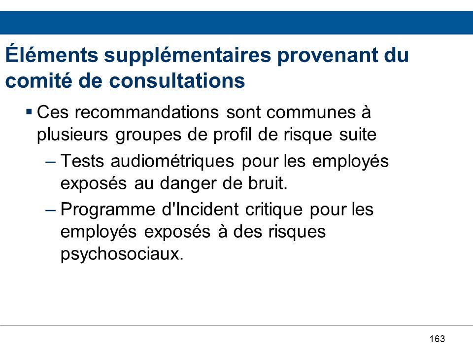163 Éléments supplémentaires provenant du comité de consultations Ces recommandations sont communes à plusieurs groupes de profil de risque suite –Tes