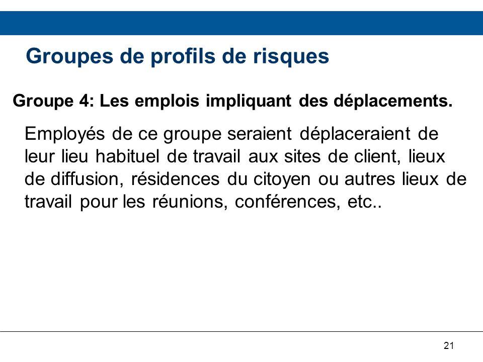 21 Groupes de profils de risques Groupe 4: Les emplois impliquant des déplacements. Employés de ce groupe seraient déplaceraient de leur lieu habituel
