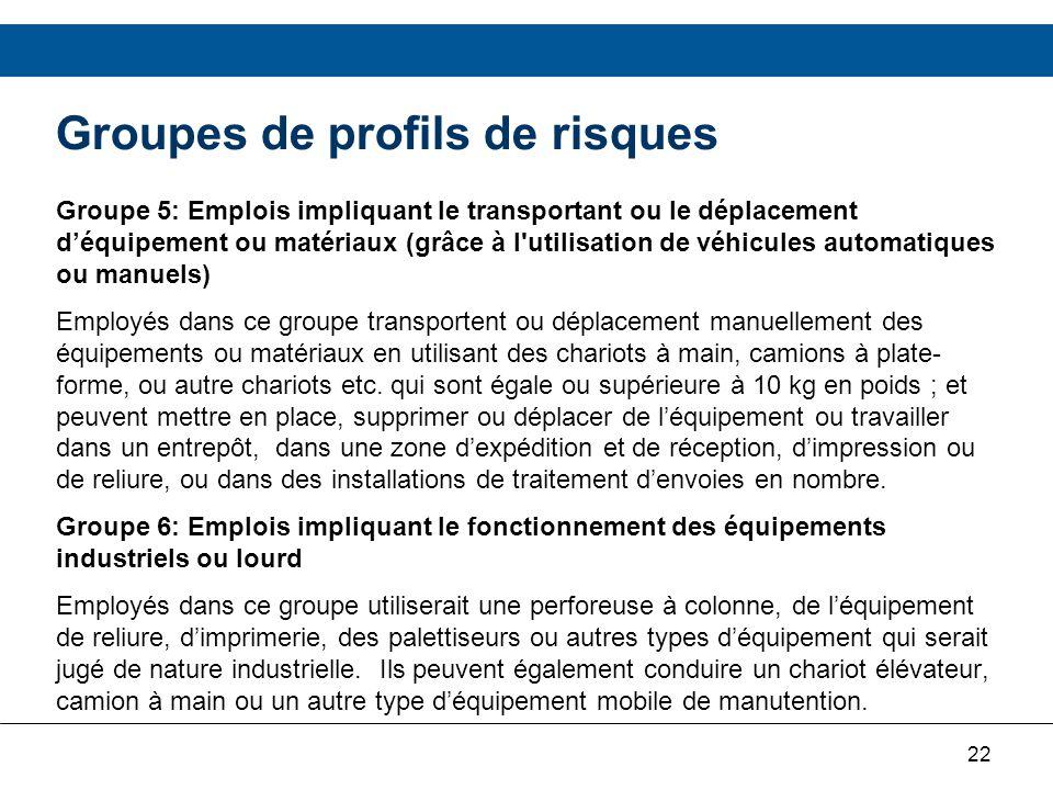 22 Groupes de profils de risques Groupe 5: Emplois impliquant le transportant ou le déplacement déquipement ou matériaux (grâce à l'utilisation de véh