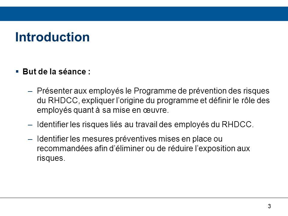 3 Introduction But de la séance : –Présenter aux employés le Programme de prévention des risques du RHDCC, expliquer lorigine du programme et définir