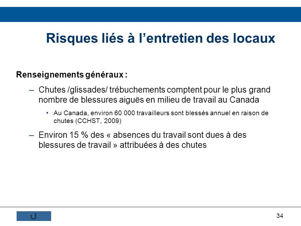 34 Risques liés à lentretien des locaux Renseignements généraux : –Chutes /glissades/ trébuchements comptent pour le plus grand nombre de blessures ai