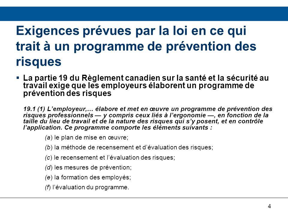 5 Programme de prévention des risques du RHDCC Afin de répondre aux exigences de la Partie 19 du RCSST, le RHDCC a : –Préparé un document sur le Programme de prévention des risques (PPR) afin dassurer la prévention continuelle des risques.
