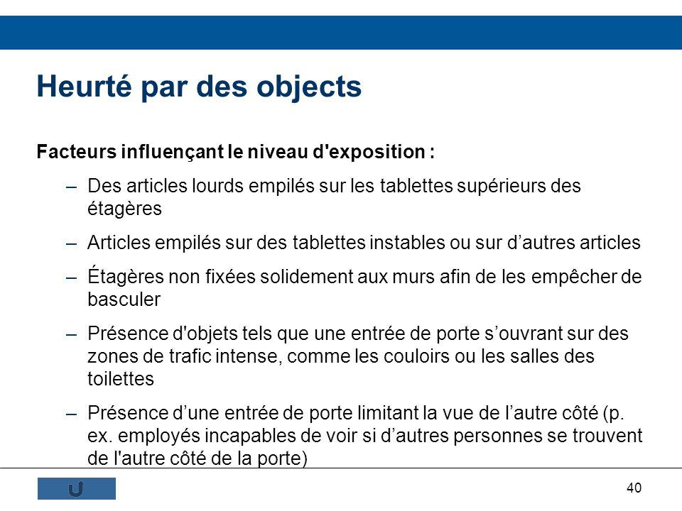 40 Heurté par des objects Facteurs influençant le niveau d'exposition : –Des articles lourds empilés sur les tablettes supérieurs des étagères –Articl