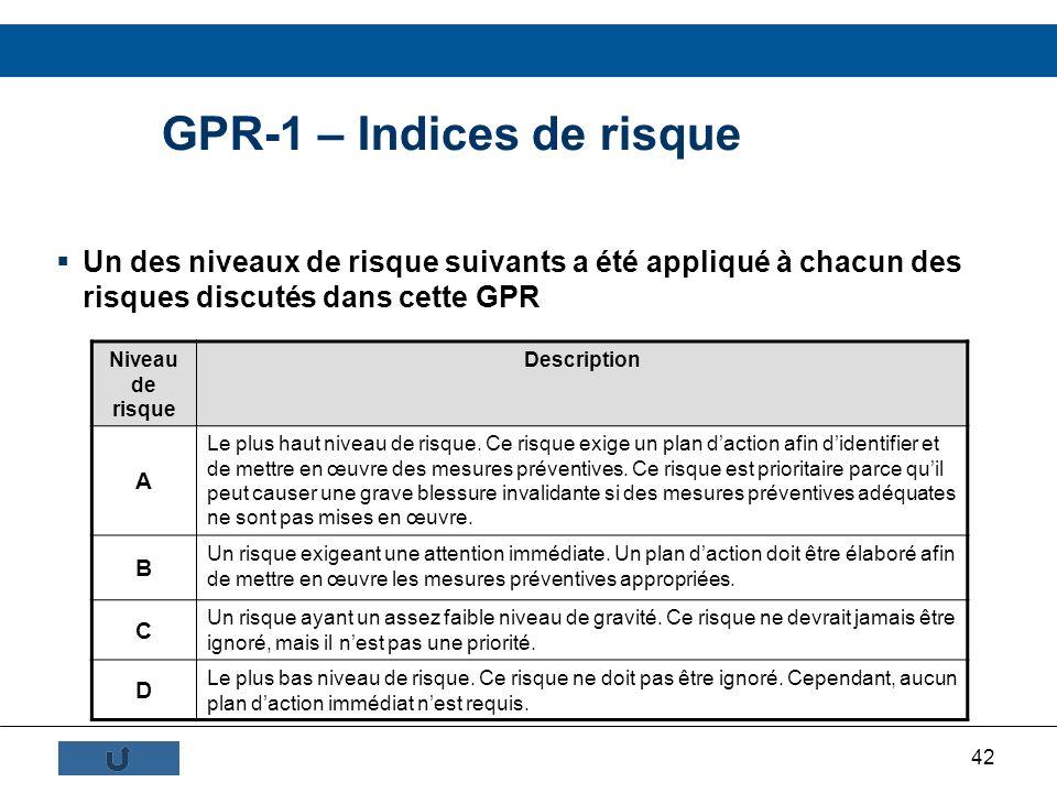 42 GPR-1 – Indices de risque Un des niveaux de risque suivants a été appliqué à chacun des risques discutés dans cette GPR Niveau de risque Descriptio