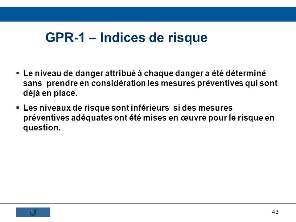 43 GPR-1 – Indices de risque Le niveau de danger attribué à chaque danger a été déterminé sans prendre en considération les mesures préventives qui so