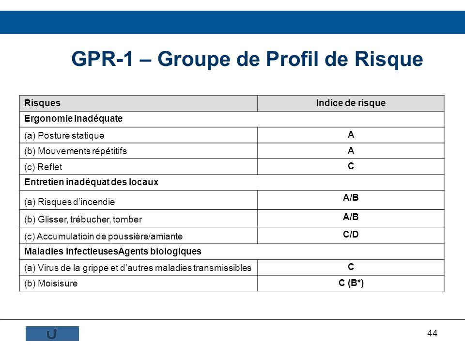 44 GPR-1 – Groupe de Profil de Risque RisquesIndice de risque Ergonomie inadéquate (a) Posture statique A (b) Mouvements répétitifs A (c) Reflet C Ent