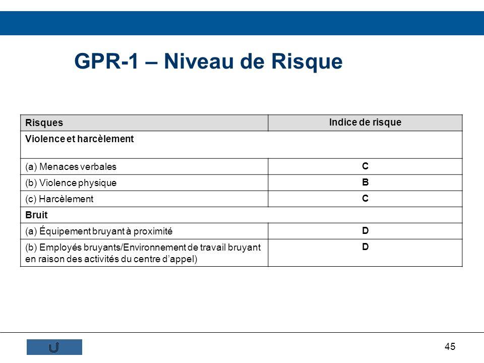 45 GPR-1 – Niveau de Risque Risques Indice de risque Violence et harcèlement (a) Menaces verbales C (b) Violence physique B (c) Harcèlement C Bruit (a