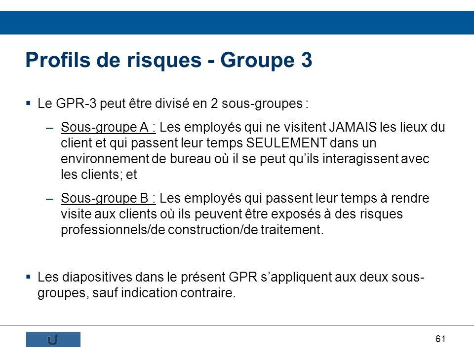 61 Profils de risques - Groupe 3 Le GPR-3 peut être divisé en 2 sous-groupes : –Sous-groupe A : Les employés qui ne visitent JAMAIS les lieux du clien