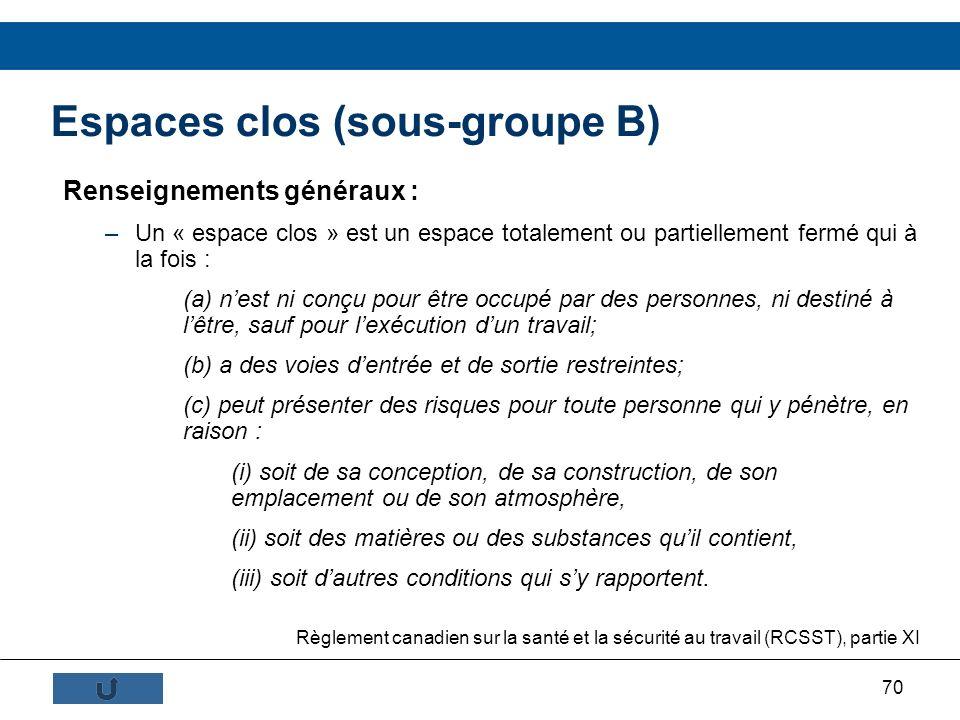 70 Espaces clos (sous-groupe B) Renseignements généraux : –Un « espace clos » est un espace totalement ou partiellement fermé qui à la fois : (a) nest