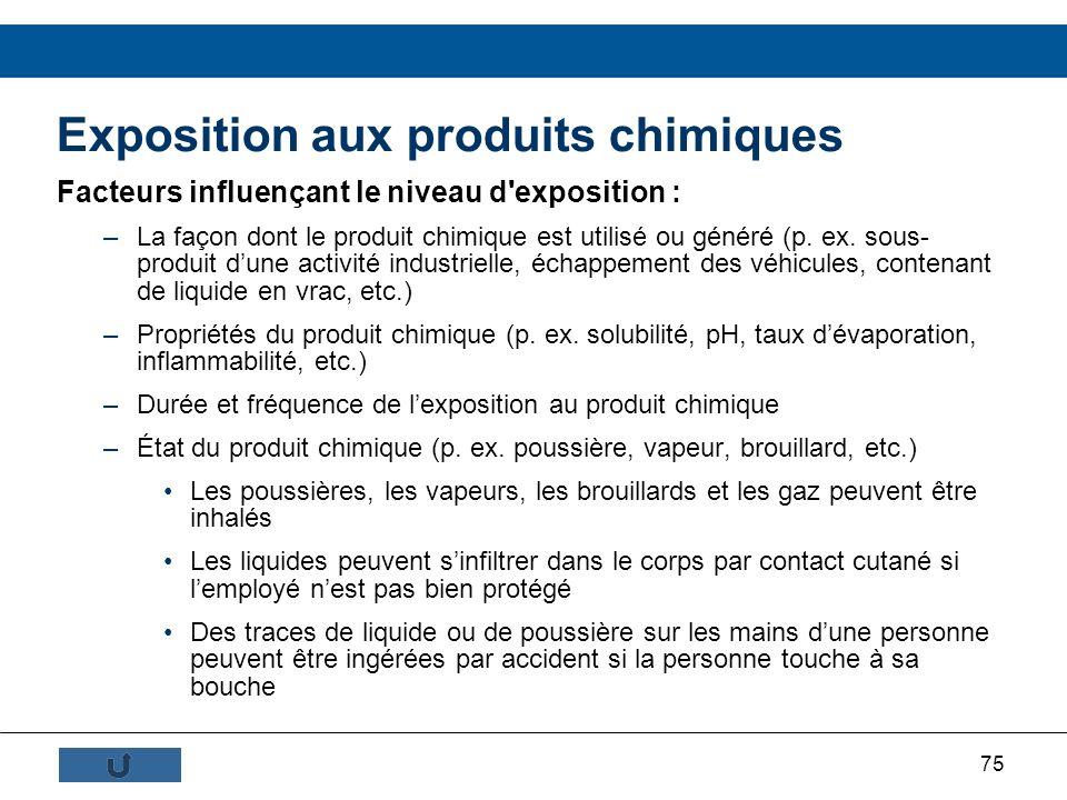 75 Exposition aux produits chimiques Facteurs influençant le niveau d'exposition : –La façon dont le produit chimique est utilisé ou généré (p. ex. so