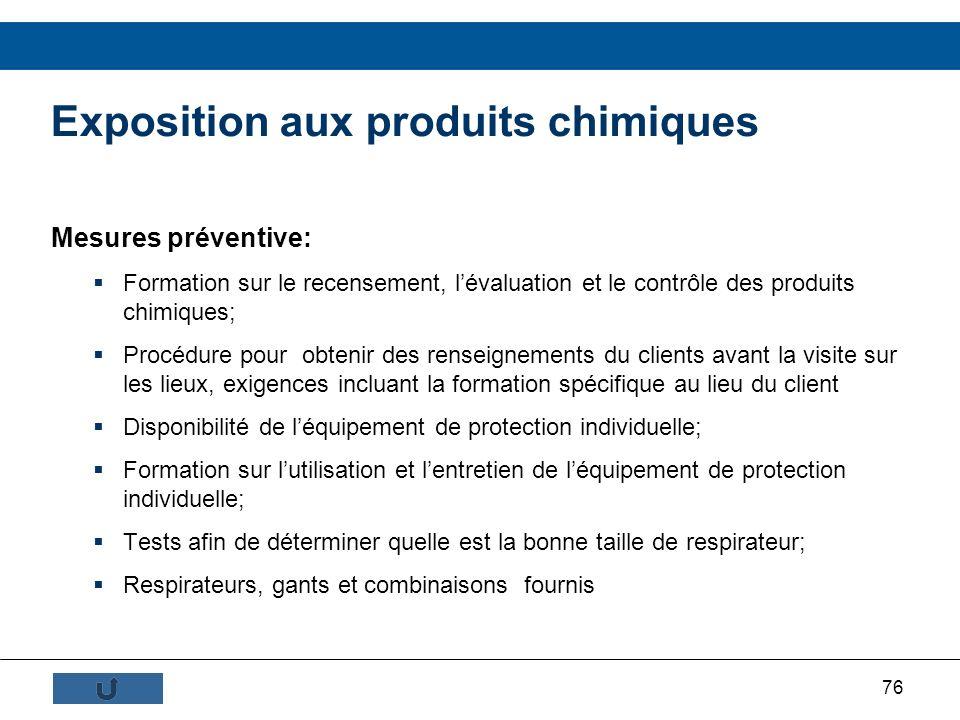 76 Mesures préventive: Formation sur le recensement, lévaluation et le contrôle des produits chimiques; Procédure pour obtenir des renseignements du c
