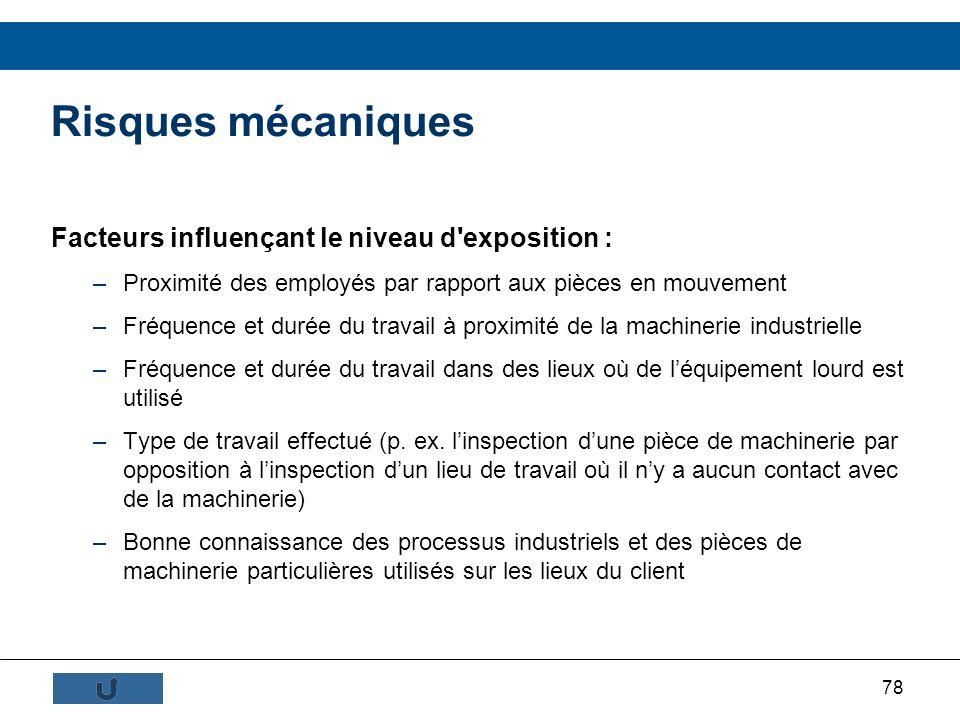 78 Risques mécaniques Facteurs influençant le niveau d'exposition : –Proximité des employés par rapport aux pièces en mouvement –Fréquence et durée du