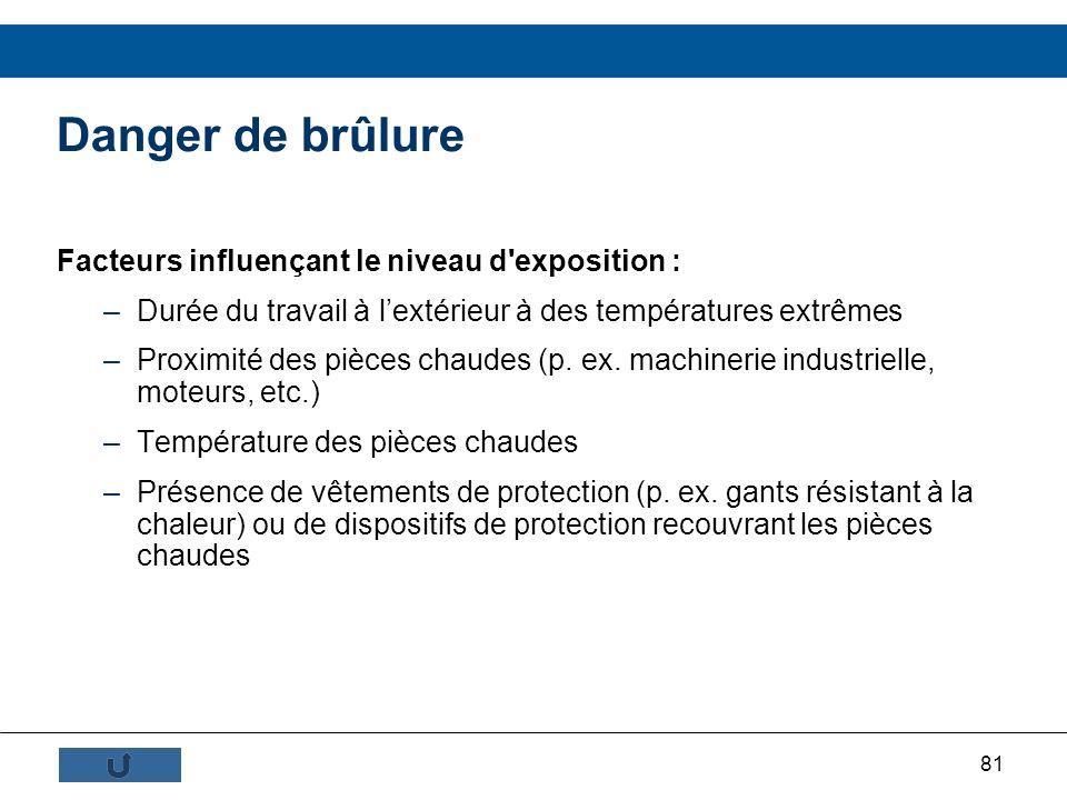 81 Danger de brûlure Facteurs influençant le niveau d'exposition : –Durée du travail à lextérieur à des températures extrêmes –Proximité des pièces ch