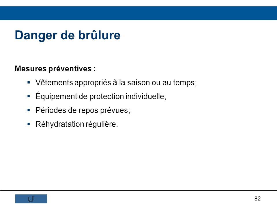 82 Mesures préventives : Vêtements appropriés à la saison ou au temps; Équipement de protection individuelle; Périodes de repos prévues; Réhydratation