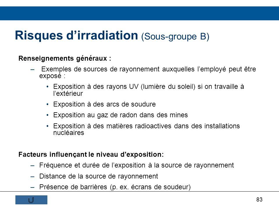 83 Risques dirradiation (Sous-groupe B) Renseignements généraux : – Exemples de sources de rayonnement auxquelles lemployé peut être exposé : Expositi