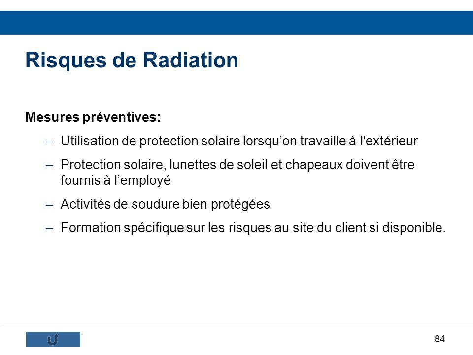 84 Mesures préventives: –Utilisation de protection solaire lorsquon travaille à l'extérieur –Protection solaire, lunettes de soleil et chapeaux doiven