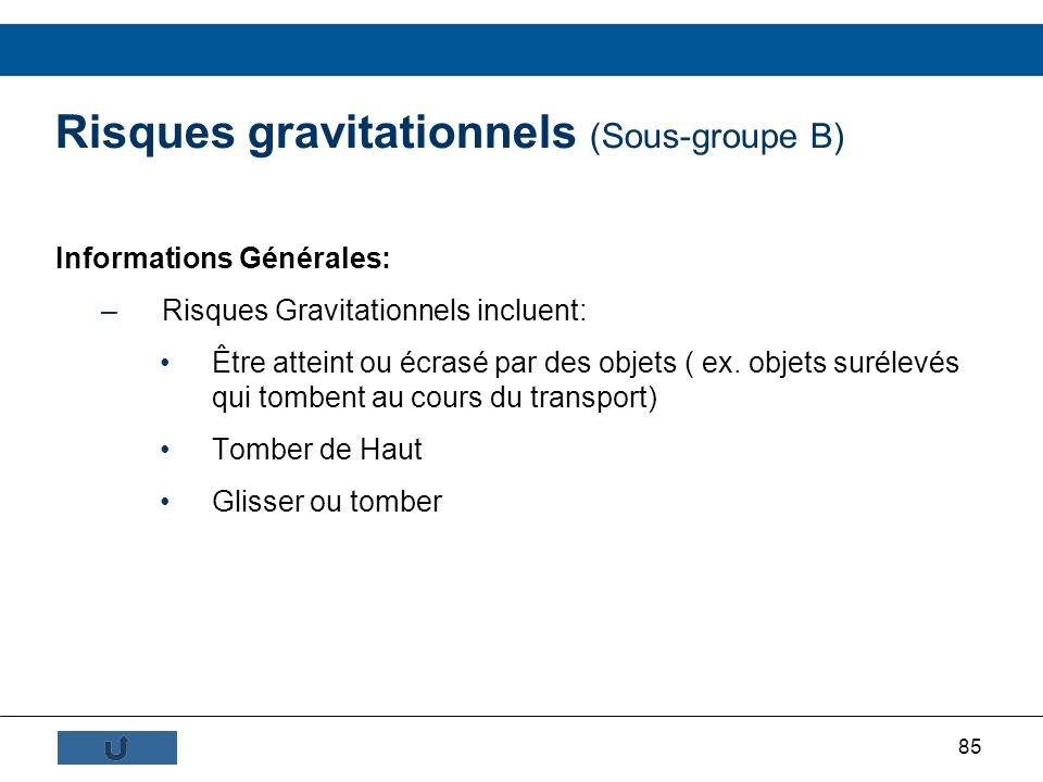 85 Risques gravitationnels (Sous-groupe B) Informations Générales: –Risques Gravitationnels incluent: Être atteint ou écrasé par des objets ( ex. obje