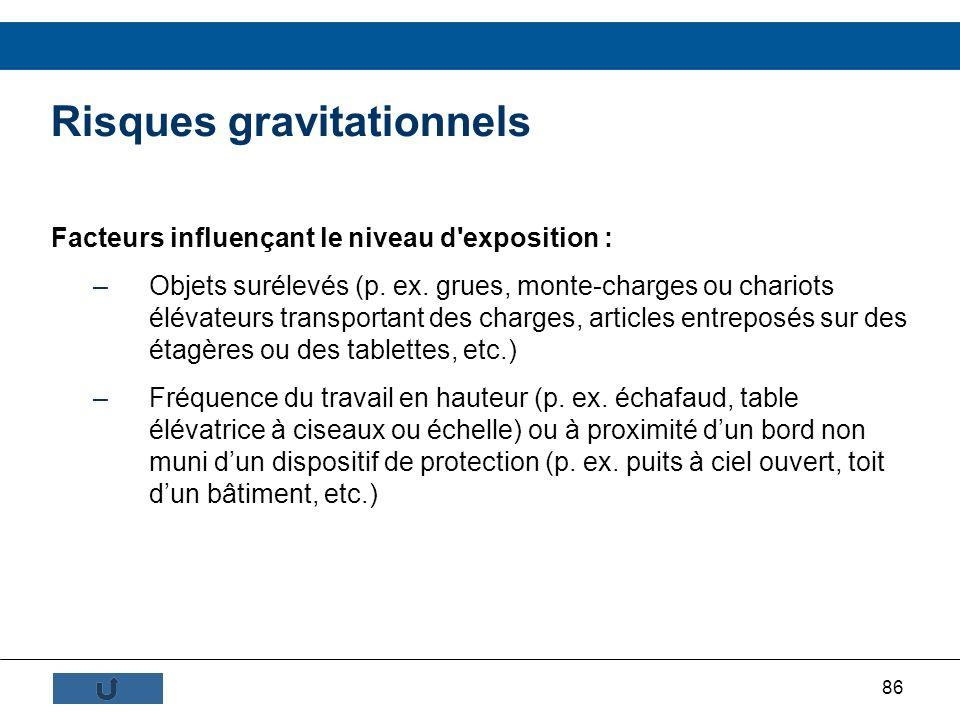 86 Risques gravitationnels Facteurs influençant le niveau d'exposition : –Objets surélevés (p. ex. grues, monte-charges ou chariots élévateurs transpo