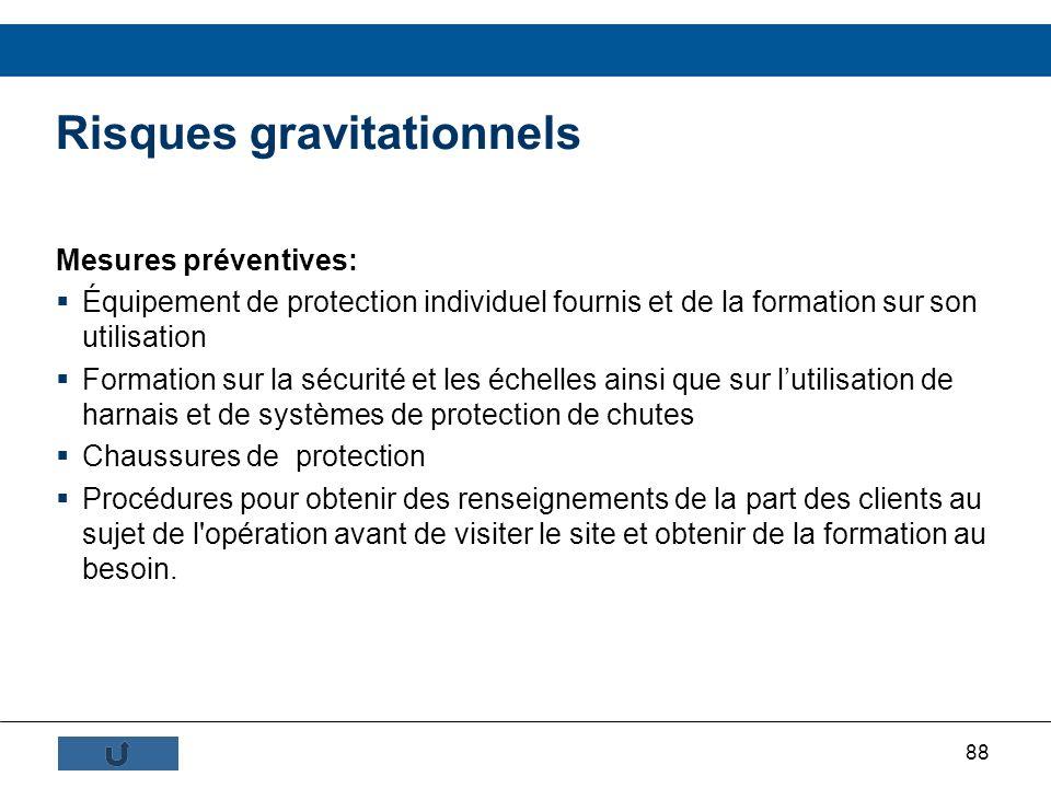 88 Mesures préventives: Équipement de protection individuel fournis et de la formation sur son utilisation Formation sur la sécurité et les échelles a