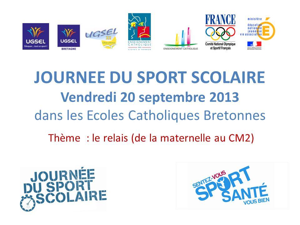 JOURNEE DU SPORT SCOLAIRE Vendredi 20 septembre 2013 dans les Ecoles Catholiques Bretonnes Thème : le relais (de la maternelle au CM2)