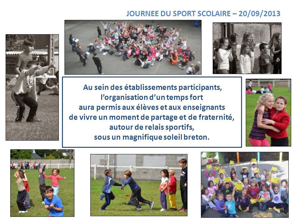 JOURNEE DU SPORT SCOLAIRE – 20/09/2013 Au sein des établissements participants, lorganisation dun temps fort aura permis aux élèves et aux enseignants
