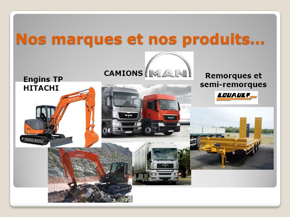 Nos marques et nos produits… Engins TP HITACHI CAMIONS Remorques et semi-remorques