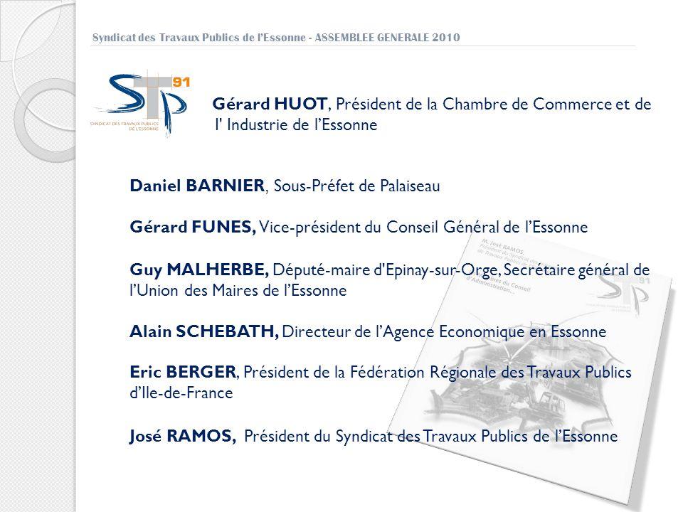 Syndicat des Travaux Publics de lEssonne - ASSEMBLEE GENERALE 2010 Gérard HUOT, Président de la Chambre de Commerce et de I' Industrie de lEssonne Dan