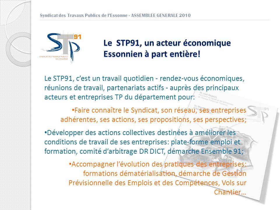 Le STP91, un acteur économique Essonnien à part entière! Syndicat des Travaux Publics de lEssonne - ASSEMBLEE GENERALE 2010 Le STP91, cest un travail
