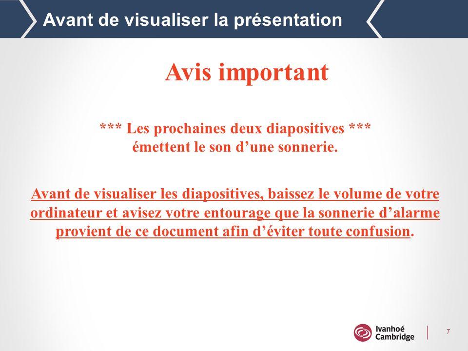 7 Avant de visualiser la présentation Avis important *** Les prochaines deux diapositives *** émettent le son dune sonnerie.
