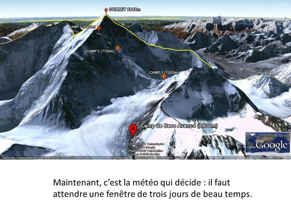 Ensuite, un jour de repos, un jour deffort jusquau camp de base avancé (6 420 m)