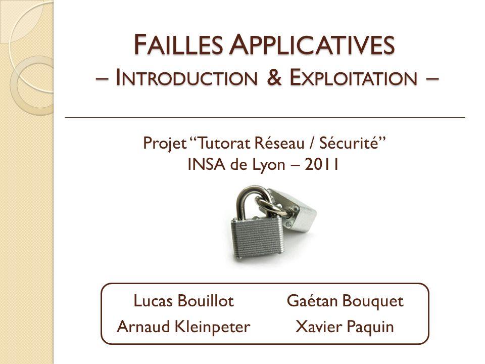 F AILLES A PPLICATIVES – I NTRODUCTION & E XPLOITATION – Projet Tutorat Réseau / Sécurité INSA de Lyon – 2011 Lucas BouillotGaétan Bouquet Arnaud KleinpeterXavier Paquin