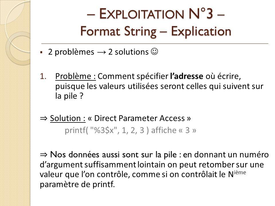 2 problèmes 2 solutions 1.Problème : Comment spécifier ladresse où écrire, puisque les valeurs utilisées seront celles qui suivent sur la pile .