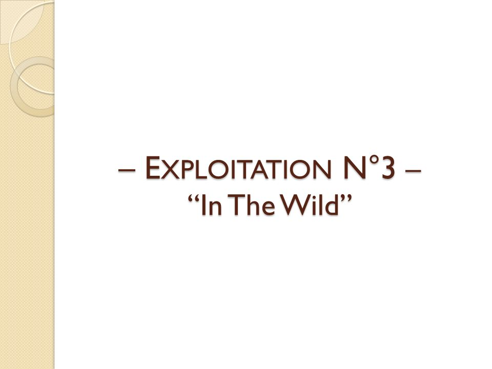 – E XPLOITATION N°3 – In The Wild