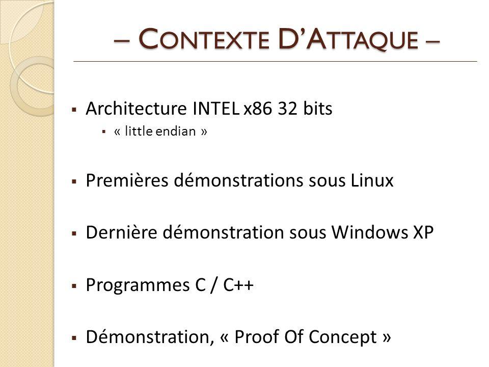 – C ONTEXTE DA TTAQUE – Architecture INTEL x86 32 bits « little endian » Premières démonstrations sous Linux Dernière démonstration sous Windows XP Programmes C / C++ Démonstration, « Proof Of Concept »