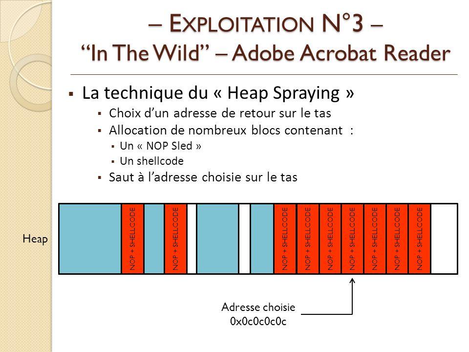 La technique du « Heap Spraying » Choix dun adresse de retour sur le tas Allocation de nombreux blocs contenant : Un « NOP Sled » Un shellcode Saut à ladresse choisie sur le tas – E XPLOITATION N°3 – In The Wild – Adobe Acrobat Reader Heap NOP + SHELLCODE Adresse choisie 0x0c0c0c0c
