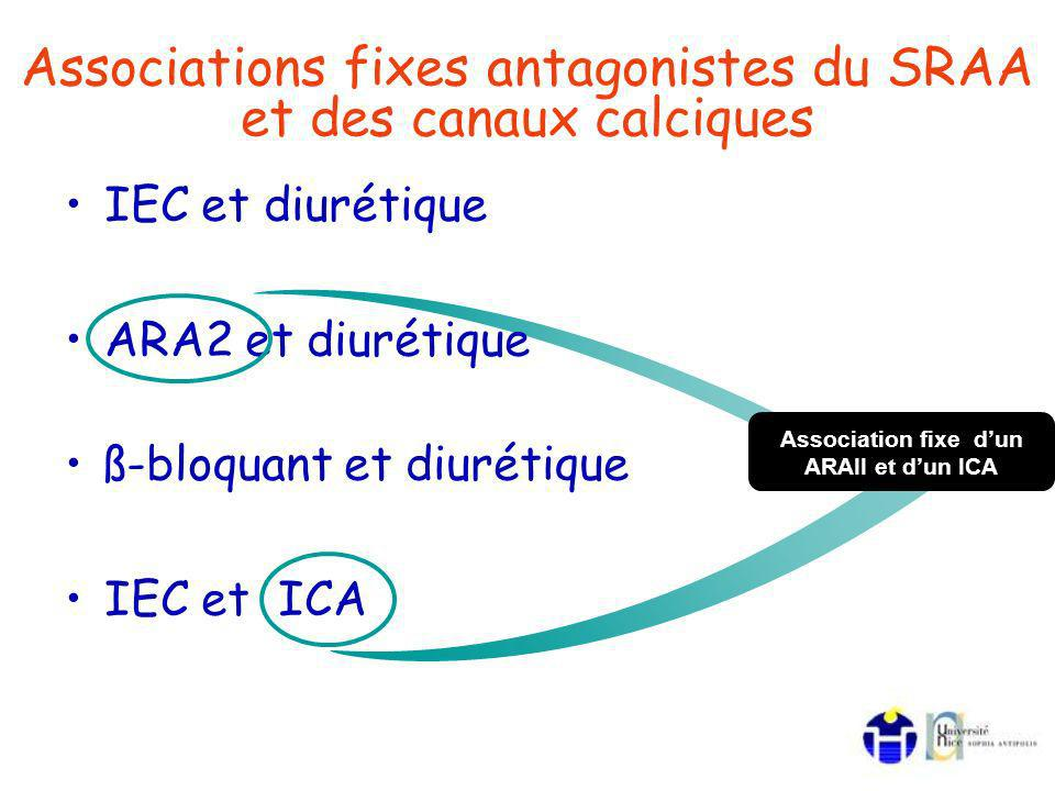 IEC et diurétique ARA2 et diurétique ß-bloquant et diurétique IEC et ICA Associations fixes antagonistes du SRAA et des canaux calciques Association fixe dun ARAII et dun ICA