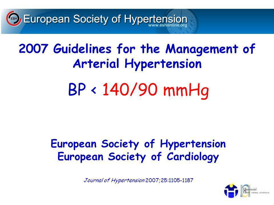 2007 Guidelines for the Management of Arterial Hypertension BP < 140/90 mmHg Journal of Hypertension 2007;25:1105-1187 European Society of Hypertension European Society of Cardiology