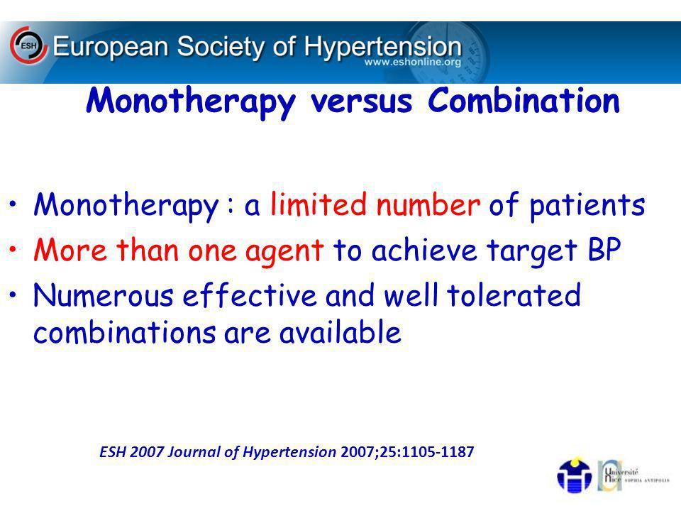 high risk hypertensives : BP control achieved promptly, which favours initial combination therapy A combination of two drugs should be preferred as first step treatment :grade 2 or 3 range or total cardiovascular risk high or very high Fixed combination of two drugs can simplify treatment schedule and favour compliance ESH 2007 Journal of Hypertension 2007;25:1105-1187