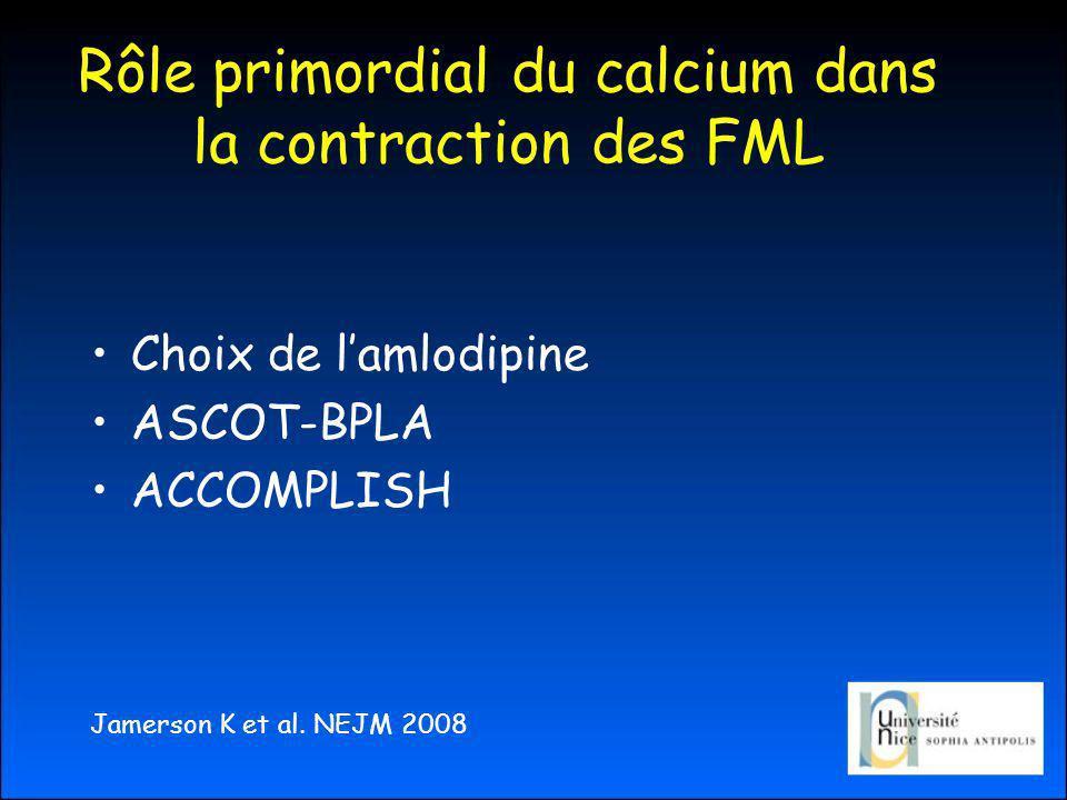 Rôle primordial du calcium dans la contraction des FML Choix de lamlodipine ASCOT-BPLA ACCOMPLISH Jamerson K et al.