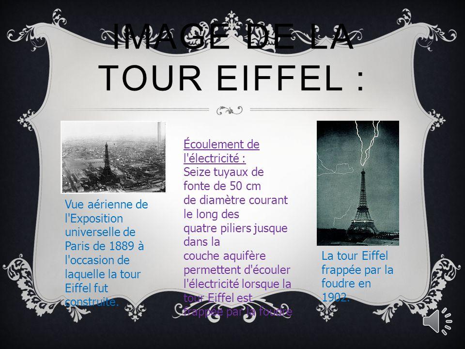 IMAGE DE LA TOUR EIFFEL : La tour Eiffel vue depuis le nord.