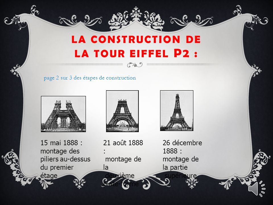 LA CONSTRUCTION DE LA TOUR EIFFEL : 18 juillet 1887 : commencement du montage métallique de la pile n°4 Voici les étape de construction de la tour Eiffel : page 1 sur 3 des étapes de construction 7 décembre 1887 : commencement du montage métallique de la pile n°4 20 mars 1888 : montage des poutres horizontales sur l échafaudage du milieu