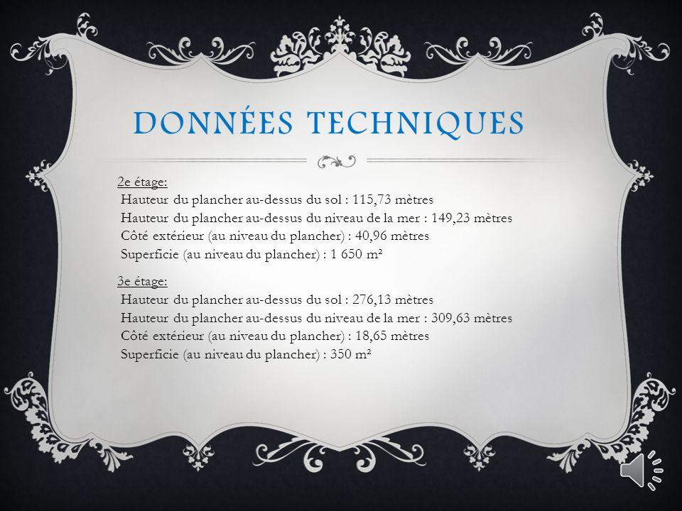 DONNÉES TECHNIQUES Voici les principales dimensions de la tour Eiffel.